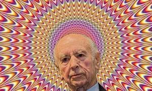 Albert Hofmann auf dem Hintergrund einer typischen Zauberpilz-Halluzination
